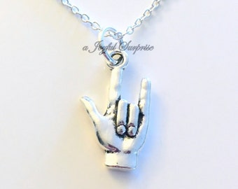I Love you Hand Sign Necklace Sign Language Symbol Jewelry Gift for Boyfriend Man Boy Men Girlfriend Mom charm birthday Christmas present