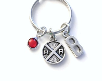 Railroad KeyChain, Rail Road Keyring, Railway Conductor's Key chain Personalized Initial Birthstone birthday present Gift Men Her Train Sign