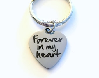 Forever in my heart Gift, Sympathy Key Chain, Memorial Keyring, Loss of Dad Keychain Son Present Jewelry Mom Dad Infant Daughter Grandparent