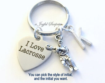 Lacrosse Keychain, I love Lacrosse Key Chain Gift For Player Keyring Birthday Present Christmas initial letter Purse Charm team man boy girl