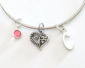 Gift for Secret Sister, Heart Bracelet Jewelry, Silver Bangle, Girlfriend Sister Fancy Detailed Charm initial birthstone Goddaughter Niece