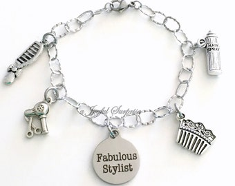 Gift for Hair Stylist, Hair Dresser Jewelry Hairdresser, Salon Bracelet Shop Charm Stainless Steel Fabulous Non Tarnish Brush Comb Present