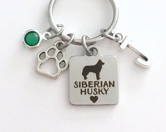 Siberian Husky KeyChain Breeder Key Chain Gift for Dog Mom Keyring Doggie Puppy Jewelry charm Silver Initial Birthstone present Man Women