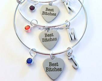 Best Bitches Jewelry Set of 2 3 4 5 6 Charm Bracelet Bangle Silver Friend BFF Girlfriend initial Birthstone Birthday Gift Christmas Present