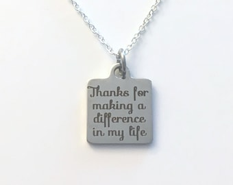 Thank you Necklace, Thanks for making a difference in my life Jewelry, Appreciation, Gift for Step Dad Present initial letter silver teacher