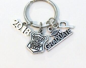 Graduation Gift for Him, Police Officer Keychain, Policeman's Key Chain 2017 2018 Cop Bobby Emblem Grad Keyring woman Department men women