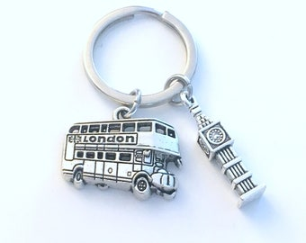 London Key Chain, Big Ben Keychain, Coach Double Decker Bus Gift, London Keyring, I love London Jewelry Pewter Charm Wedding Themed Favor