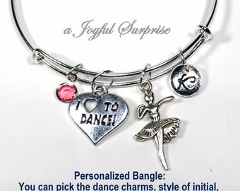 Ballet Charm Bracelet, I Love to Dance Bangle Dancer Jewelry, Ballerina Gifts, Silver Adjustable Letter Personalized Custom Ballet Daughter