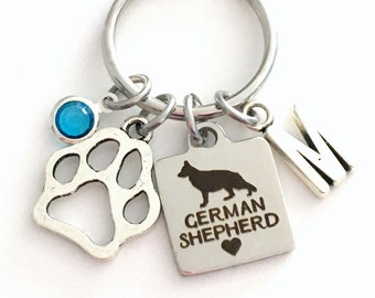 German Shepherd KeyChain Breeder Key Chain Gift for Dog Mom Keyring Doggie Puppy Jewelry charm Silver Initial Shepard Teen present Man woman