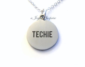 Gift for Techie Necklace, Tech Support Jewelry BFF Friend Computer Geek Charm Initial Teen Boy Teenager present, Software designer engineer