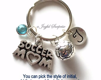 Soccer Mom Key Chain, Silver Soccer Player's Mom Keyring Soccer Mom KeyChain Gift For Soccer Mom Jewelry Letter birthstone initial custom