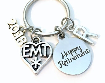 Retirement Gift for EMT Keychain 2018 Medical Paramedic Symbol Boss Him Her Dad Key chain Keyring Retire Coworker Initial letter Men Women