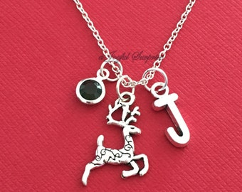 Reindeer Necklace Deer Jewelry Gift for Christmas Rudolph Silver charm Initial Birthstone Birthday present Short Long Chain pewter girl boy