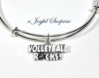 Volleyball Bangle Bracelet, Volleyball Jewelry, Gift for VB Player Gift Silver Birthday Volleyball Rocks Charm Christmas Present School Team