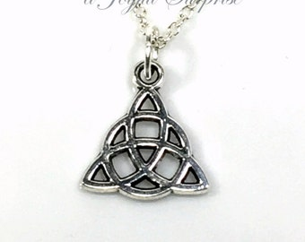 Celtic Jewelry, Celtic Triangle Necklace, Silver Celtic Knot Gifts, Pewter Celtic Charm, Silver Pendant Christmas Present Men's Necklace man