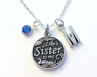 Like a sister to me Necklace, Friendship Jewelry, Best Friends Gift, Silver Quote Charm, Sister in law, Personalized Step Women Her BFF Girl
