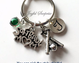 Softball Mom Key Chain, Silver Softball Player's Mom Keyring Soft Ball Mom KeyChain Gift For Softball Mom Jewelry Letter birthstone initial