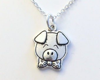 Pig Jewelry Necklace, Piglet Gift, Piggy Animal Silver charm present Short Long Chain Sterling Girl Woman Little Boy Nephew Godson son niece
