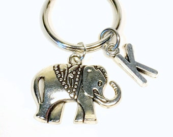 Custom Elephant Keychain, silver Elephant Key chain, Gift for Best Friend Present, Ancient Elephant Keyring, Strength with Initial letter