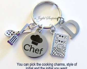 Chef Keychain, Gift for Culinary Student, Chef's Key Chain, Pastry Chef Keyring with Initial letter Silver Baking Cooking Charm Head Master