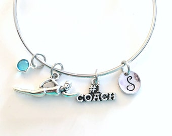Gift for Swim Coach Jewelry Bracelet, Swimming Swimmer Charm Bangle Silver Team Synchronized Initial birthstone Sport Athlete Water Women
