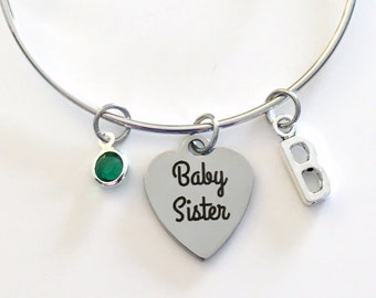 Sister Bracelets for 1 2 3 or 4 Set - Big, Middle, Little and Baby Gift Jewelry Charm Bangle Silver initial Birthstone Birthday Present Fast