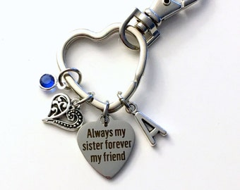 Gift for Sister KeyChain, Always my sister forever my friend Key Chain, BFF Keyring Personalized Present for In Law Step, accessory clip