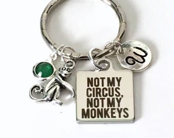Gift for Boss Gift, Not my Circus, Not my Monkeys Keychain, Funny Coworker Gift Personalized Keyring Custom Key Chain letter initial her him