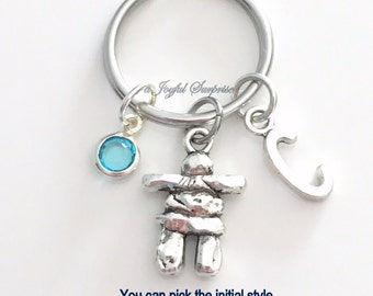 Inukshuk KeyChain Stone Man Keyring Inuit Key chain Statue Jewelry Personalized Initial Birthstone birthday present Christmas Gift travel