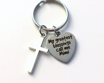 Gift for Mimi Key Chain, My greatest blessings call me KeyChain, Grandmother Family Cross Keyring religious Initial Birthstone present women