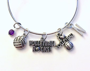 Volleyball Jewelry Charm Bracelet Bangle Silver Player Team initial Birthstone Birthday Gift Christmas Present Custom Volley Ball Rocks girl