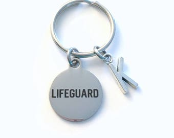 Lifeguard Key Chain, Life Preserver KeyChain, Gift for Swim Instructor Birthstone Initial Present Jewelry Keyring women men her Guard him