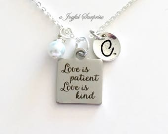 Love is Patient Love is Kind Necklace, Bride Gift, Wedding Jewelry, Newly Wed Anniversary Silver Charm with Initial letter for wife fiance