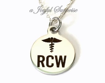 RCW Necklace, RCW Student Present, Gift for RCW Jewelry, Silver Charm Resident Care Worker Jewelry Men Man Male Nurse Nursing Home Worker