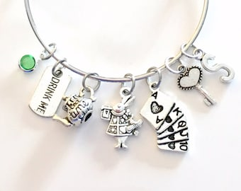 Alice in Wonderland Jewelry Charm Bracelet, Gift for Teenage Daughter Teen Girl Woman Lady Silver Musical Theater Movie Fantasy Rabbit Cards