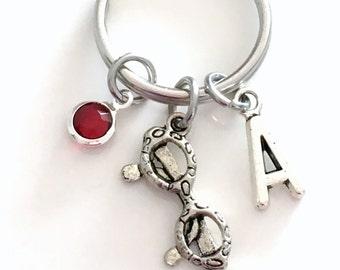 Eye Glass Keychain, Spectacle Key Chain, Ophthalmologist Keyring Present Optometrist Gift for Optometry Initial Birthstone birthday women