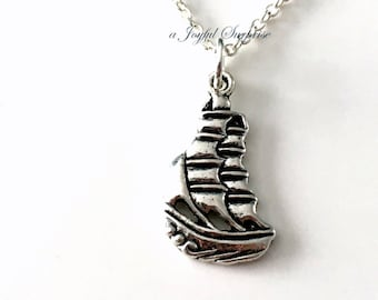 Sailboat Necklace, Gift for Navy Wife Gifts, Marine Nautical Navy Officer Jewelry, Silver Sailor's Charm Necklace, Sail Boat, Sailing Yacht