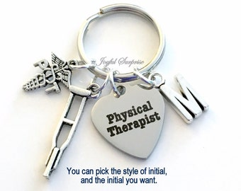 Gift for PT Physical Therapist PT Keychain, Thank you Keyring, PT Key Chain Physical Therapy Initial crutch Birthday Gift Christmas present