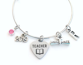 Teacher Graduation Bracelet, Teaching Grad Gift for Education Student 2019 Silver Bangle Jewelry Graduate Charm letter initial her women