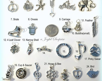 Silver Charm, Add on any charm from my shop to your purchase, Antique silver, Necklace, Keychain, Bracelet bookmark - 1 single Pendant steel