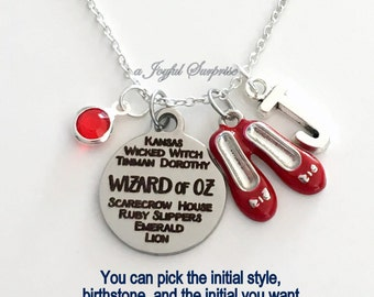 Wizard of Oz Necklace, Ruby Slippers Jewelry Dorothy Red Shoes, Gift for Musical Silver charm Initial Birthstone  present Galinda Glinda