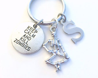 Keep Calm and Kill Zombies Gift Keychain Skeleton Key Chain, Halloween Keyring Gift For Gamer Present Gaming Geek player initial letter boy