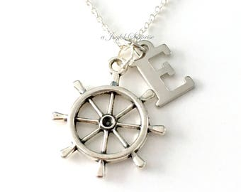 Ship Wheel Necklace, Helm Jewelry, Nautical Theme Bridal Party Gift, Rudder Captains Marine Sailor's Charm initial letter Silver Men Him dad