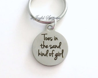 Toes in the sand kind of girl KeyChain Silver Beach Keyring Sea Shell Key chain Gift Clam Jewelry charm Christmas Birthday present wedding