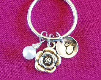 Mother's Day Gift for Mom, Flower Keychain, Rose Key Chain, Small Floral Keyring, Silver Peony Jewelry Initial Birthstone Mommy pearl
