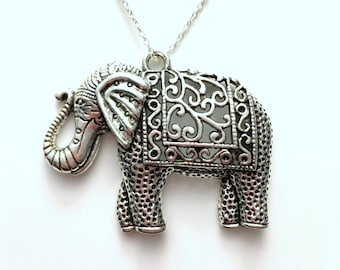 Large Elephant Necklace, Detailed Ornately Carved Animal Jewelry, Silver Charm Pewter Pendant Birthday Gift Present Long Short Chain Tibetan