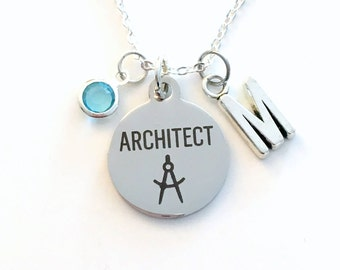 Architect's Necklace, Architect Jewelry, Gift for Architectural Designer Charm Personalized Initial Birthstone birthday present her women