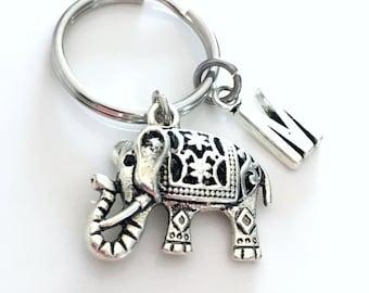 Elephant Keychain, Zoo Key chain Indian Animal Gift Circus Keyring Ornate Filigree Jewelry Initial birthstone Personalized custom Canada her