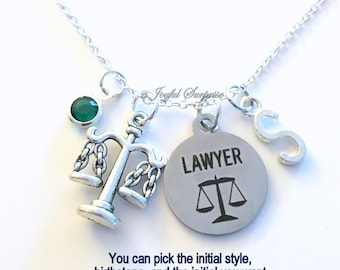 Lawyer Necklace Law School Jewelry, Justice Scales Gift for Judge charm Personalized Custom Initial Birthstone birthday Christmas present