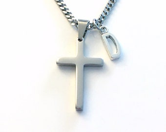 Stainless Steel Cross Necklace for Men or Women / 3mm Curb Chain / Girlfriend Jewelry / Religious Gift for Man, Dad, Boyfriend, Husband